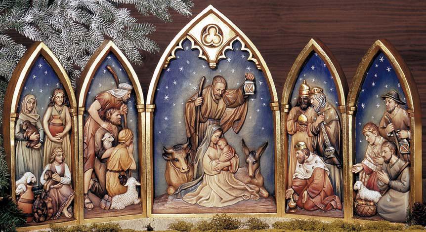 Anri relief nativity set scene